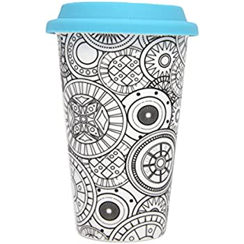 DCI Color Joy Adult Coloring Products, I Am Not A Paper Cup, Custom Travel Coffee Mug, Geo Spheres Design, White, Ceramic, Spill-Proof