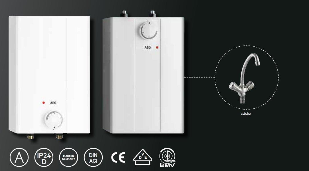 AEG 229287 Huz 5 Basis A - Calentador acumulador de sistema abierto (tamaño pequeño, 5 litros, 2 kW, 230 V), color blanco: Amazon.es: Bricolaje y ...