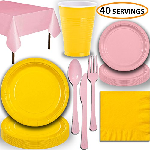 - Disposable Party Supplies, Serves 40 - Yellow and Light Pink - Large and Small Paper Plates, 12 oz Plastic Cups, Heavyweight Cutlery, Napkins, and Tablecloths. Full Two-Tone Tableware Set