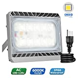 50W LED Flood Light, STASUN LED Security Lights Outdoor, 4500lm, 6000K Daylight, Waterproof, Built with Cree LED Chips, Great for Back Yard, Garden, Garage