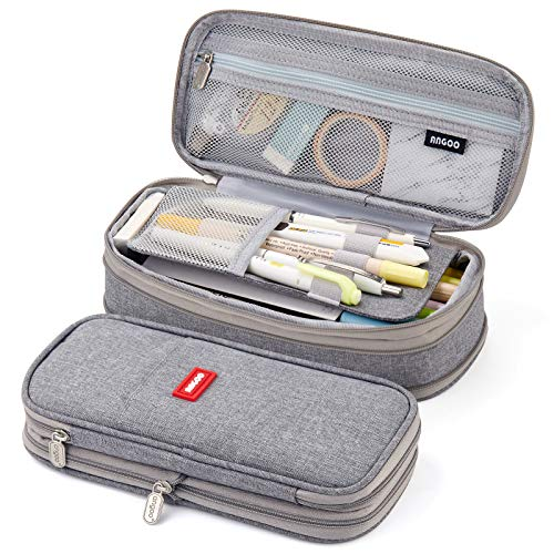 EASTHILL Big Capacity Pencil Pen Case Office College School Large Storage High Capacity Bag Pouch Holder Box Organizer Blue (Gray)