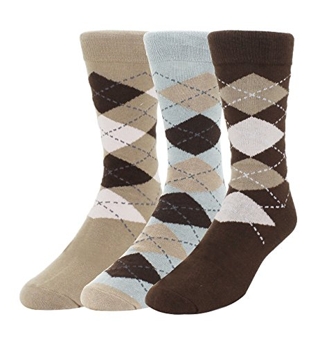 Brown Argyle Socks (Zmart 3 Pack Casual Argyle Socks for Men, Classic Colorful Assorted Cotton Dress Crew Socks Size 8-14)