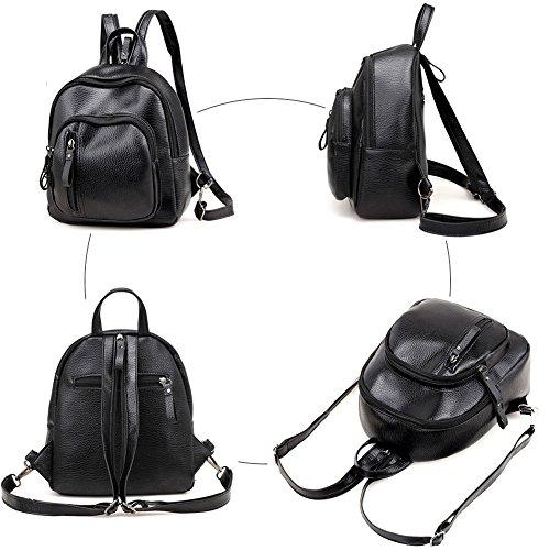 Mode cuir sac Fanshu dos noir Cartable femme à Décontractée raBXawWTn