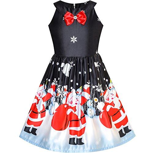 LQ62 Girls Dress Black Christmas Santa Snow Xmas