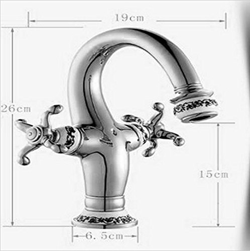 GOWE Polished Chrome Brass Bathroom Faucet Ceramic Style Dual Cross Handles Vanity Sink Mixer Tap 1