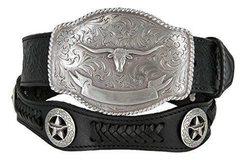 State of Texas Longhorn and Star Western Embossed Leather Belt (34, Black)