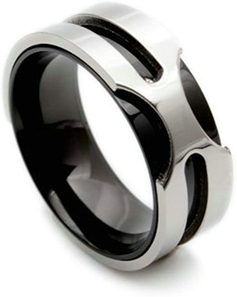 Bishilin Stainless Steel Bio Color Two Tone Silver Black X Cross Mens Wedding Rings Size 12