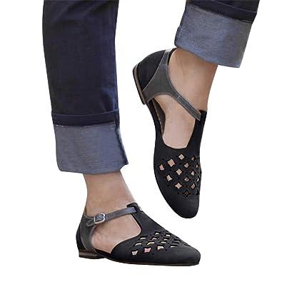 488a7432d635c2 Women s Summer Flat Sandals Pointed Toe Cap Toe T Strap Hollow Roman Sandal  Casual Dress Shoes