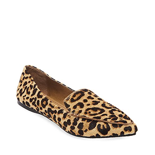 Steve Madden Women's FEATHERL Loafer Flat, Leopard, 7.5 M US