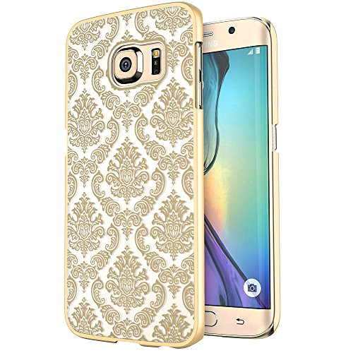 Samsung Galaxy S7 Edge Case,HAOTP(TM) [Damask]Design Pattern Rubber Coating Ultra Slim Fit Hard Hybrid Case Cover for Galaxy S7 Edge (Gold) - Samsung Galaxy S2 Bow Case