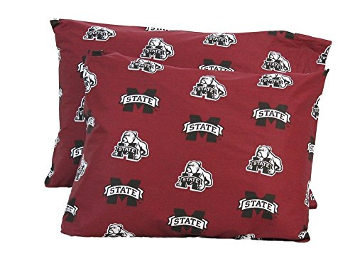 College Covers Mississippi State Bulldogs Pillowcase Pair Solid, Includes 2 Standard Pillowcases