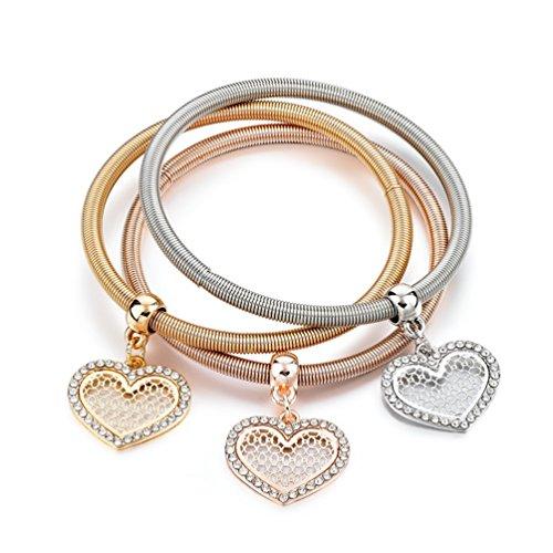 Multi Chain Heart Bracelet (Stretch Bracelets I's 3PCS Gold/Silver/Rose Snake Chain Charm Bracelet Heart Pendant Multilayer Bracelets for Women)