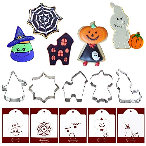 Halloween Cookie Biscuit Fondant Cake Mold - Set of 10-5Pcs Cookie Cutter and 5Pcs Matching Cookie Stencils, Include Corn, Spider Web, Haunted House, Pumpkin man and Ghost ()