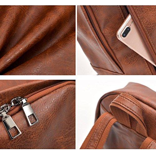 Vbiger PU Leder Rucksack Modische Schule Schultern Tasche Stilvolle Reise Rucksäcke Lässiger Outdoor Tagesrucksack Modischer Laptop Schultern Tasche mit USB Ladefunktion Grau