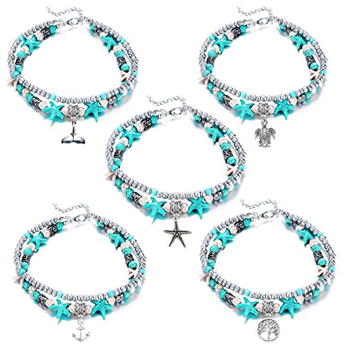 JLJ Anklets Set for Women Starfish Turtle Anchor Mermaid Beach Multiple Layered Anklets
