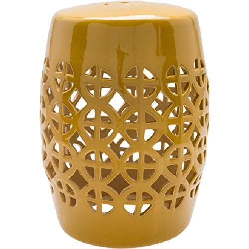 "Diva At Home 18"" Ridgeway Mustard Yellow Outdoor Decorative Patio and Garden Stool from Diva At Home"