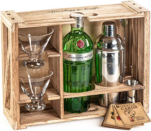 Rustic Bartender Kit with Stand | Bar Set Cocktail Shaker Set with Martini Glasses For Drink Mixing | Martini Shaker Set, Bar Tools, Cocktail Glasses (Set of 2) | Best Home Bar Shaker Set Gift