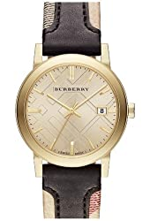 Burberry The City Gold-Tone Leather Mens Watch BU9032