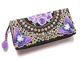 Wallet by WP Embroidery Butterfly Flower Zipper Wallet Purse Clutch Bag Handbag Iphone Case Handmade for Women, Purple Wallet