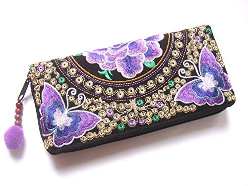 Wallet by WP Embroidery Butterfly Flower Zipper Wallet Purse Clutch Bag Handbag Iphone Case Handmade for Women, Purple - Mens Coach Outlet