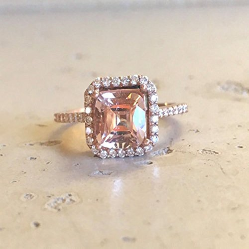Morganite Cushion Engagement Ring- Rose Gold Morganite Engagement Ring- Halo Morganite with Diamond Promise Ring- Rose Gold Promise Ring
