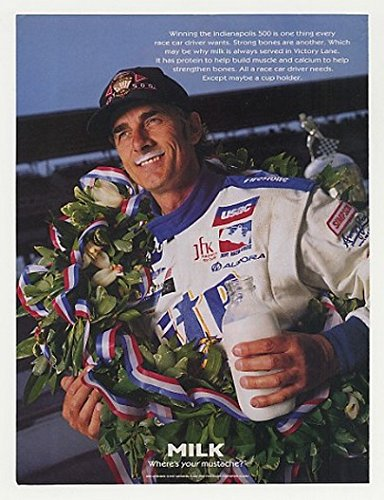 1997 Indy 500 Win Arie Luyendyk Milk Mustache Photo Original Print - Indy Luyendyk