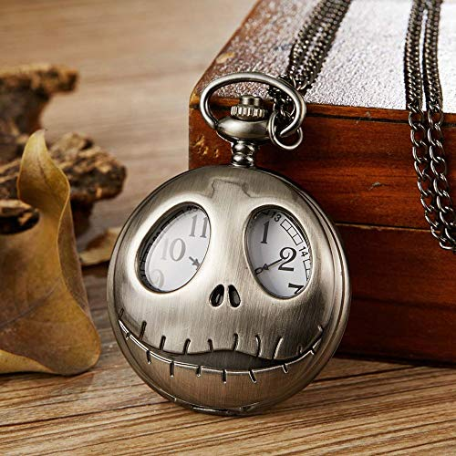CHITOP Bronze The Nightmare Before Christmas Quartz Pocket Jack Skellington with fob Chain pendent Necklace Women Men Gift ()