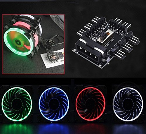 Wathai PC Fan Hub Speed Controller 8 Way Cooling Fan Hub IDE Molex 1 to 8 Multi Way Splitter 3Pin Power Socket PCB Adapter by Wathai (Image #5)