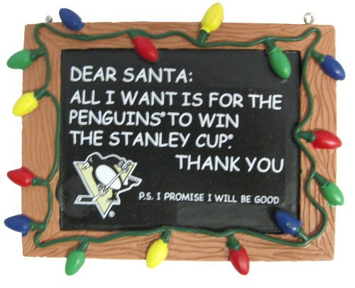 Penguins Ornaments Pittsburgh - Pittsburgh Penguins Resin Chalkboard Sign Ornament