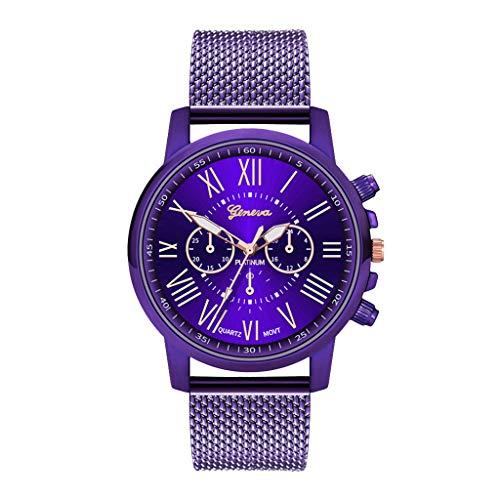 Orcbee  _Luxury Watches Quartz Watch Stainless Steel Dial Casual Bracele Watch (Purple)