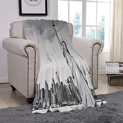 Light weight Fleece Throw Blanket/Black and White Decorations,Statue of Liberty New York City American Monument Decorative,Light Grey Black White/for Couch Bed Sofa for Adults Teen Girls Boys -