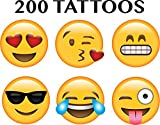 Emoji Temporary Tattoos - Pack of 200 Tattoos (4 sheets of 50 tattoos) - 25 Different Designs in 2 Fun Sizes: 100 are 3/8 inch wide, 100 are 3/4 Inch wide, Printing, Great for Parties! Emoticon