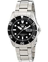 Black Dial Stainless Steel Automatic Mens Watch SNZF17