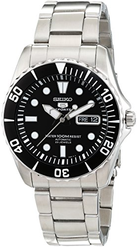 (Seiko 5 Black Dial Stainless Steel Automatic Mens Watch)