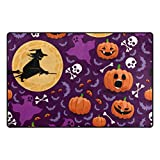 Cooper girl Halloween Witch Pumpkin Decorative Area Rug Pad Floor Mat for Living Dining Room Bedroom 60x39&31x20 Inch