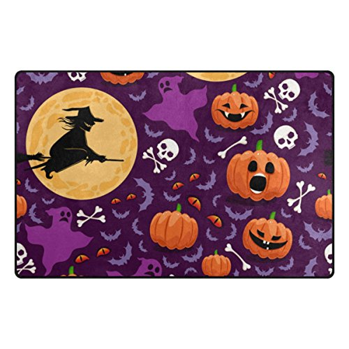 Cooper girl Halloween Witch Pumpkin Decorative Area Rug Pad Floor Mat for Living Dining Room Bedroom 60x39&31x20 Inch by Cooper girl