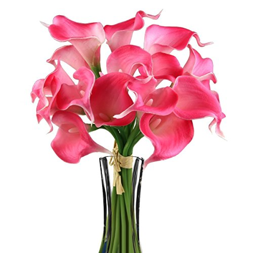 - HugeStore 10 Pcs Realistic Artificial Calla Lily Bridal Wedding Bouquet Real Touch PU Flowers Hot Pink