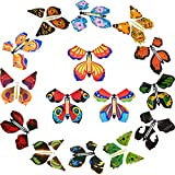 15 Pieces Magic Fairy Flying Butterfly Rubber Band Powered Wind up Butterfly Toy for Surprise Gift or Party Playing (Vivi Style)