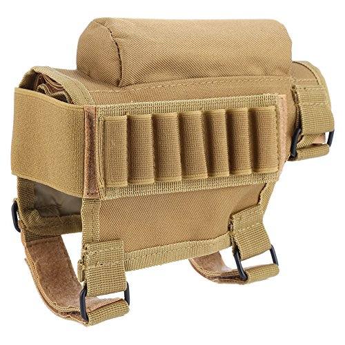 Nylon Tactical Hunting Rifle Shotgun Buttstock Shell Holder Cheek Rest Pouch Rifle Cheek Pad Ammo Carrier Case (Khaki)
