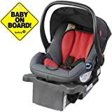 Phil Teds - Alpha Infant Car Seat w Baby on Board Sign - Flint Red