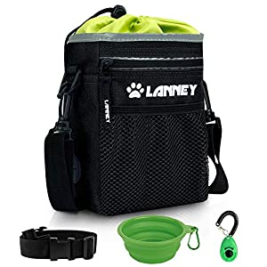 LANNEY Dog Treat Pouch Pet Training Bag for Small to Large Dogs, Treat Tote Carry Kibble Snacks Toys for Training Reward Walking, Metal Clip, Waist Belt, Shoulder Strap, Poop Bag Dispenser 2