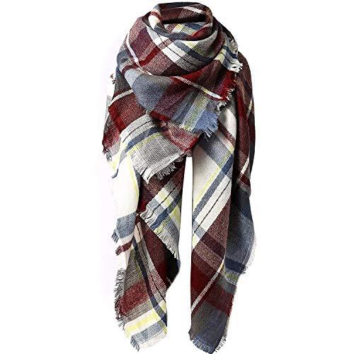 Century Star Women's Fashion Plaid Scarf Warm Tartan Shawl Wrap Soft Knit Large Blanket Scarves Purple Red One Size