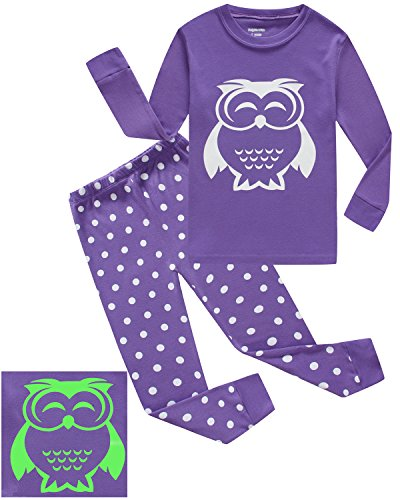 Dolphin&Fish Girls Pajamas OWL Glow-in-The-Dark Kids Pjs 100% Cotton Toddler Clothes Shirts Size 2T -