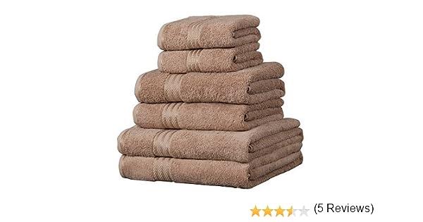 6 toallas de hotel - 100% extraordinario algodón egipcio - Café con leche: Amazon.es: Hogar