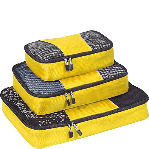 - eBags Packing Cubes for Travel - 3pc Set - (Canary)