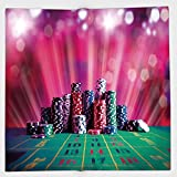 Cotton Microfiber Hand Towel,Poker Tournament Decorations,Stack of Gambling Chips Success Wealth Winner Lucky Betting Decorative,Multicolor,for Kids, Teens, and Adults,One Side Printing