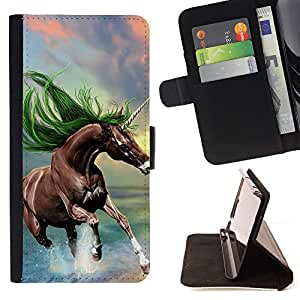 - Horse Cute - - Style PU Leather Case Wallet Flip Stand Flap Closure Cover FOR Samsung Galaxy S6 EDGE - Devil Case -