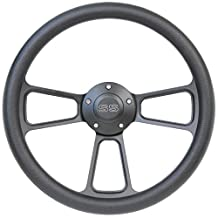 """14"""" Forever Sharp Black Billet Aluminum Steering Wheel w/ Engraved SS Horn Button"""