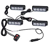 Justech 4PCS 4LEDs Strobe Lights Amber Hazard Warning Beacon Lights with Car Charger Emergency Lights Flashing Warning Light 12V 24V Universal for Car Vehicle Truck Trailer Caravan Camper Van