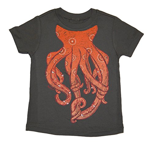 Peek A Zoo Toddler Become an Animal Short Sleeve T shirt - Octopus Charcoal (3T)
